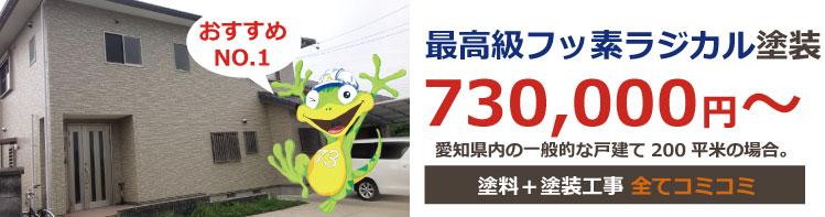 最高級シリコン塗装 730,000円~ 愛知県内の一般的な戸建て200平米の場合。価格は税込み価格です。塗料+塗装工事+足場代 全てコミコミ